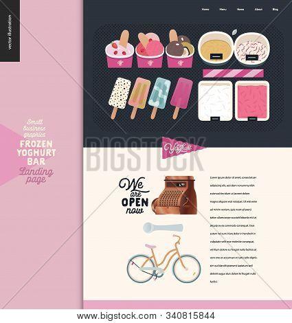 Frozen Yoghurt Bar -small Business Graphics -landing Page Design Template -modern Flat Vector Concep