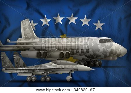 air forces with grey camouflage on the Kosovo flag background. Kosovo air forces concept. 3d Illustration poster