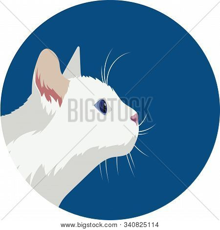 Profile Portrait Of A White Cat In A Blue Circle. Flat Style Illustration