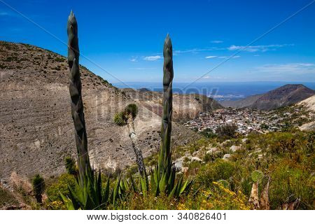 Landscape with Real de Catorce . Famous desert village in Mexico