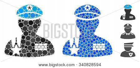 Army General Mosaic Of Small Circles In Variable Sizes And Shades, Based On Army General Icon. Vecto