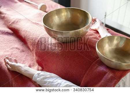 Tibetan Singing Bowls In Sound Therapy In Spa Center