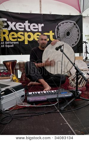 Stroud based percussionist and tabla player, Jon Sterckx, performing live in the Acoustic Cafe at t