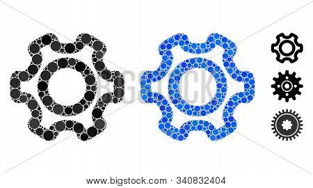 Cog Mosaic Of Small Circles In Different Sizes And Color Hues, Based On Cog Icon. Vector Small Circl