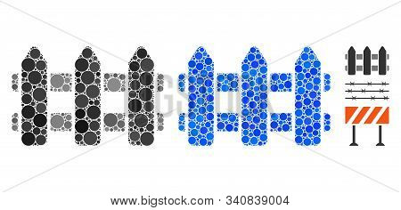 Fence Mosaic Of Round Dots In Various Sizes And Color Tones, Based On Fence Icon. Vector Round Dots