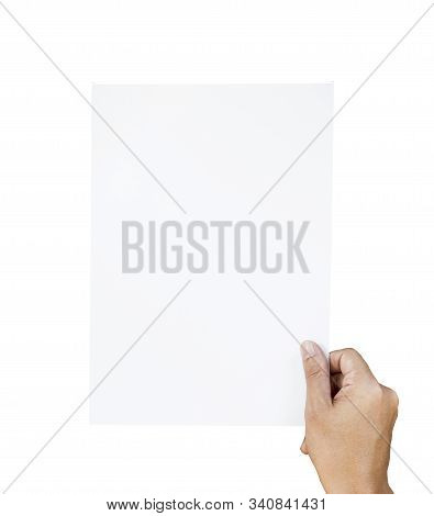 Hand Holding And Rise Up White Paper For Copy Space And Add Text On White Background. This Photo Is