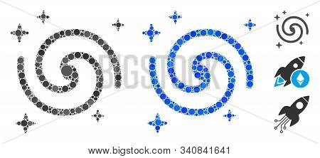 Galaxy Mosaic Of Small Circles In Variable Sizes And Color Tints, Based On Galaxy Icon. Vector Small