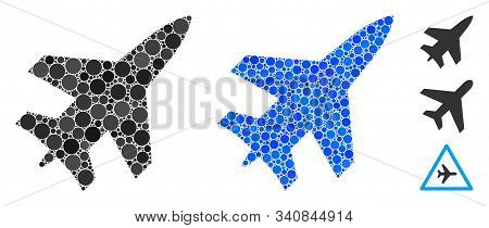 Jet Fighter Mosaic Of Spheric Dots In Variable Sizes And Color Tones, Based On Jet Fighter Icon. Vec
