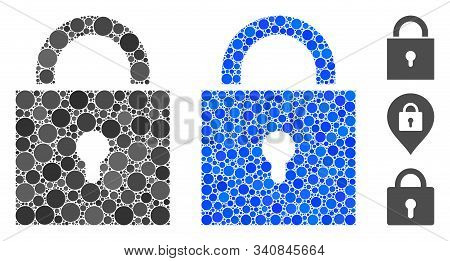 Lock Composition Of Filled Circles In Different Sizes And Color Tones, Based On Lock Icon. Vector Fi