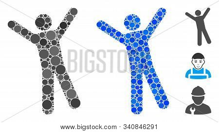 Man Joy Mosaic Of Circle Elements In Variable Sizes And Color Tints, Based On Man Joy Icon. Vector R