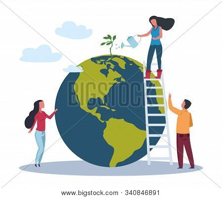 Ecology World Concept. Save Green Planet Environment. People Take Care About Planet Ecology. Vector