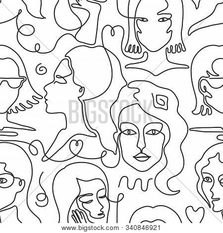 One Line Face Pattern. Trendy Woman Face Seamless Texture With Abstract Line Shapes, Minimal Girl Fa