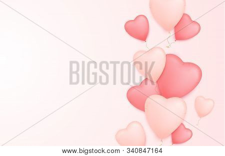 Valentine Day Banner With Heart Shape Balloons. Valentines Day Sale Poster.