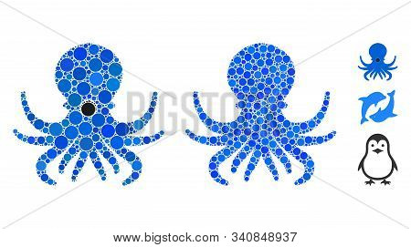 Octopus Mosaic Of Round Dots In Variable Sizes And Color Tones, Based On Octopus Icon. Vector Round