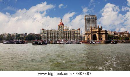 landmark of India Mumbai India gate end the Victorian style on coast of the Bombay gulf. India. Bombay poster