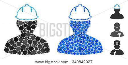 Person In Hardhat Composition Of Round Dots In Various Sizes And Color Tints, Based On Person In Har