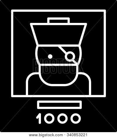 Black Wanted Poster Pirate Icon Isolated On White Background. Reward Money. Dead Or Alive Crime Outl