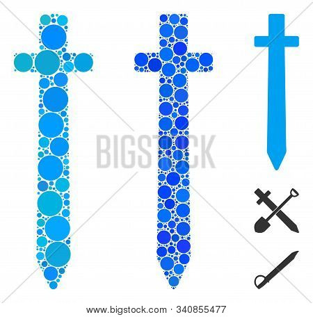 Symbolic Sword Mosaic Of Circle Elements In Various Sizes And Shades, Based On Symbolic Sword Icon.