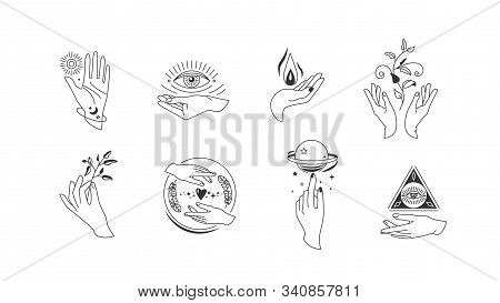 Hands Set In Simple Flat Esoteric Boho Style. Feminine Hand Logo Collection With Different Symbol Li