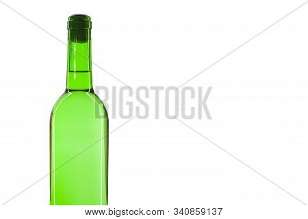 Green Bottle With A White Sparkling Wine, Isolated On White Background. There Is A Place For Text.
