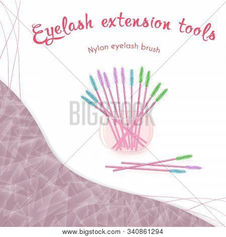 Eyelash Extensions Nylon Eyelash Brush In A Glass