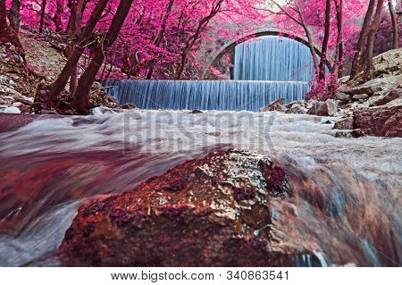 Infrared Photography Of The Double Waterfalls Of Palaiokarya Thessaly Greece - Long Exposure Photogr