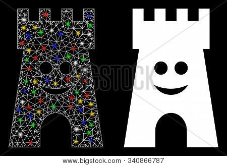 Glowing Mesh Happy Fort Tower Icon With Lightspot Effect. Abstract Illuminated Model Of Happy Fort T