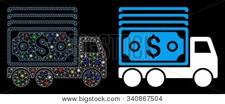 Glowing Mesh Cash Lorry Icon With Glare Effect. Abstract Illuminated Model Of Cash Lorry. Shiny Wire