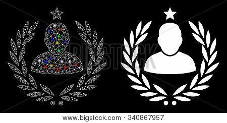Bright Mesh Man Glory Laurel Emblem Icon With Glare Effect. Abstract Illuminated Model Of Man Glory