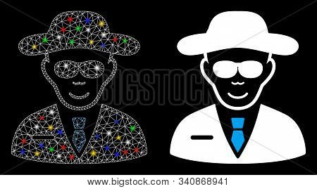 Flare Mesh Spy Icon With Lightspot Effect. Abstract Illuminated Model Of Spy. Shiny Wire Frame Trian