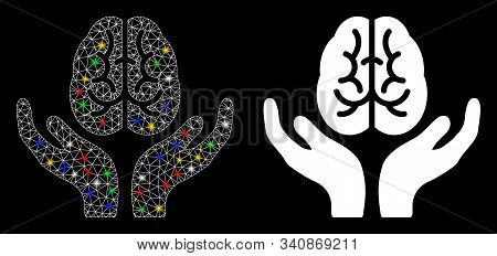 Glossy Mesh Brain Care Hands Icon With Glow Effect. Abstract Illuminated Model Of Brain Care Hands.