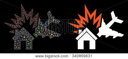 Flare Mesh Aircraft House Collision Icon With Glitter Effect. Abstract Illuminated Model Of Aircraft