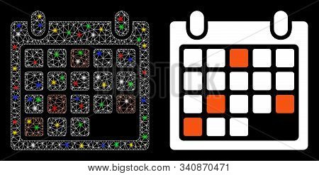 Glowing Mesh Calendar Appointment Icon With Glitter Effect. Abstract Illuminated Model Of Calendar A