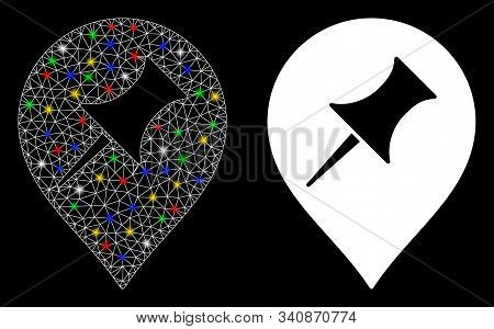 Glossy Mesh Interest Pin Marker Icon With Glitter Effect. Abstract Illuminated Model Of Interest Pin
