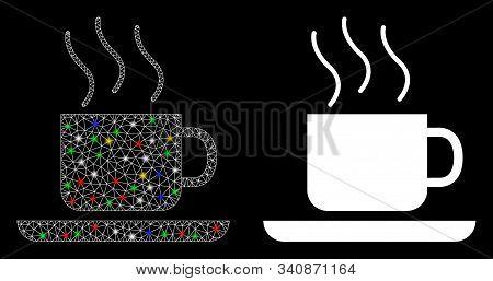 Flare Mesh Coffee-break Icon With Glare Effect. Abstract Illuminated Model Of Coffee-break. Shiny Wi