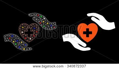 Bright Mesh Cardiology Care Hands Icon With Sparkle Effect. Abstract Illuminated Model Of Cardiology