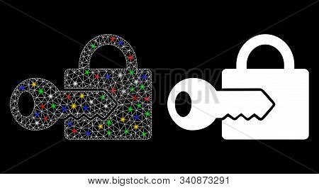 Glossy Mesh Registration Key Icon With Sparkle Effect. Abstract Illuminated Model Of Registration Ke
