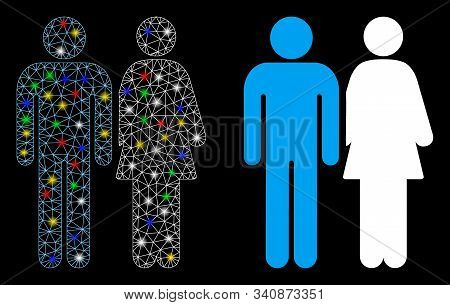 Flare Mesh Married Couple Icon With Glow Effect. Abstract Illuminated Model Of Married Couple. Shiny