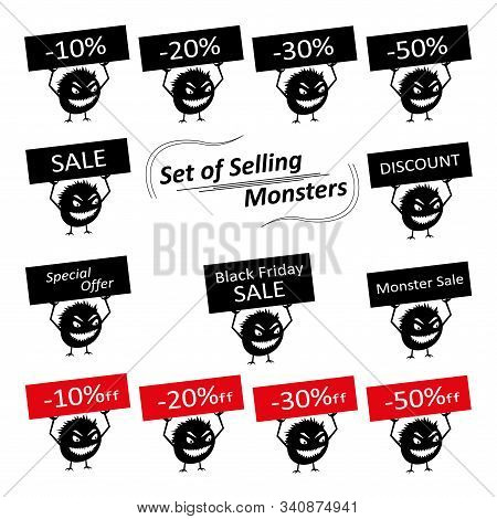 Set Of Funny Cute Silhouette Creatures With Discount Signs For The Store. Isolated Critters Hand-dra