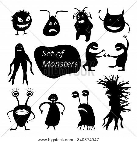 Set Of Funny Cute Silhouette Creatures. Isolated Critters Hand-drawn. Design For Print On T-shirts.