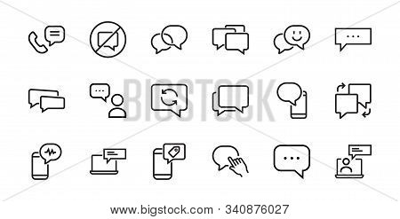 A Simple Set Of Message Line Vector Line Icons. Contains Icons Such As Conversation, Sms, Notificati
