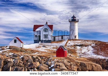 The Cape Neddick Nubble Lighthouse Is A Lighthouse In Cape Neddick, York County, Maine, United State
