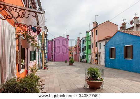 Colorful Buildings Along Street In Burano In Venice