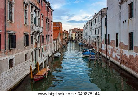 Decaying Buildings Along A Back Canal In Venice