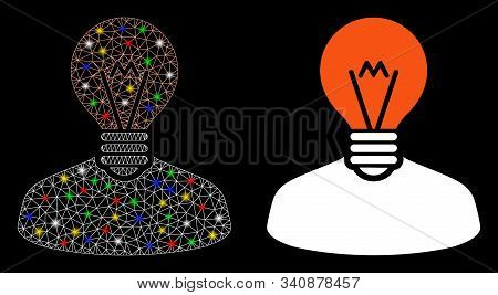 Glossy Mesh Inventor Icon With Glitter Effect. Abstract Illuminated Model Of Inventor. Shiny Wire Fr