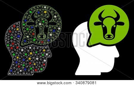 Glossy Mesh Cattle Thinking Person Icon With Glow Effect. Abstract Illuminated Model Of Cattle Think