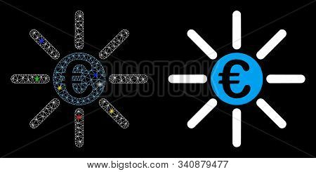Glossy Mesh Euro Distribution Icon With Glitter Effect. Abstract Illuminated Model Of Euro Distribut