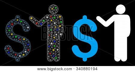 Glowing Mesh Banker Icon With Sparkle Effect. Abstract Illuminated Model Of Banker. Shiny Wire Frame
