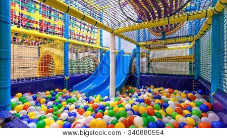 Children Playground Indoor. Nice Plastic Gym For Activity In Playroom. Panorama Inside The Soft Dry