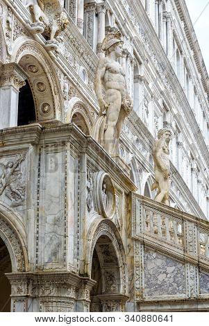 Doge`s Palace Or Palazzo Ducale, Venice, Italy. It Is Famous Landmark Of Venice. Scenery Of Ornate G